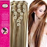 """20"""" Clip in Synthetic Hair Extensions Light Brown with Bleach Blonde 7pcs 70g"""