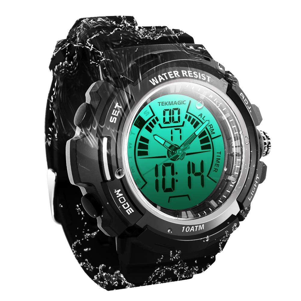 TEKMAGIC Digital Swimming Wrist Sports Watch 100m Water Resistant for Diving with LED Back Light Support Stopwatch and Chronograph Functions W19-G