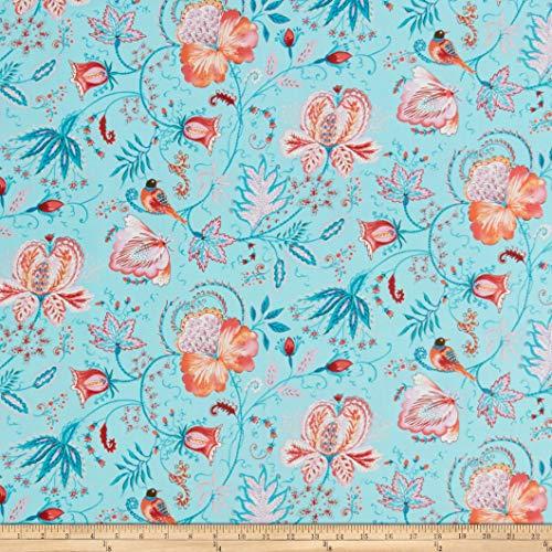 FreeSpirit Fabrics Meadowlark Eden Aqua Fabric Fabric by the Yard