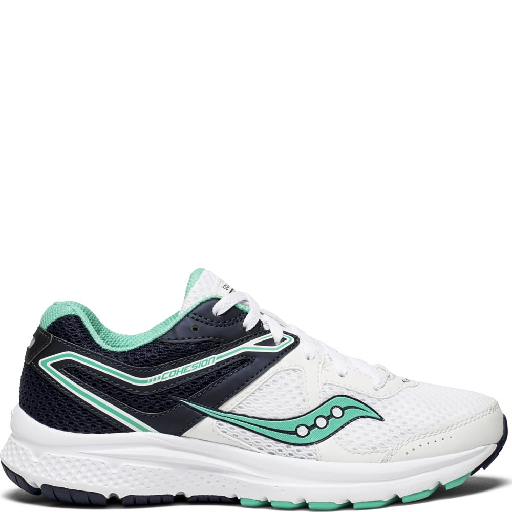 Saucony Women's Cohesion 11 Running Shoe, White/Teal, 8.5 Wide US