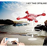 K&A Company Syma X5UW 2.4G 4CH Wifi FPV RC Quadcopter with 720P HD Camera Red New