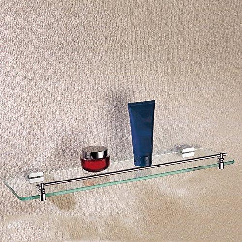 Cloud Power Rectangle Single Glass Shelf Brass 20.5-Inches Bathroom Holder Polished Chrome Bathroom Hardware