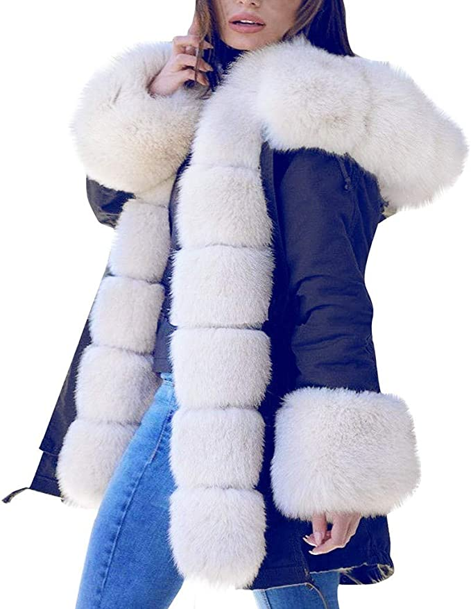 : QIQIU Womens New Fleece Hooded Warm Faux Fur