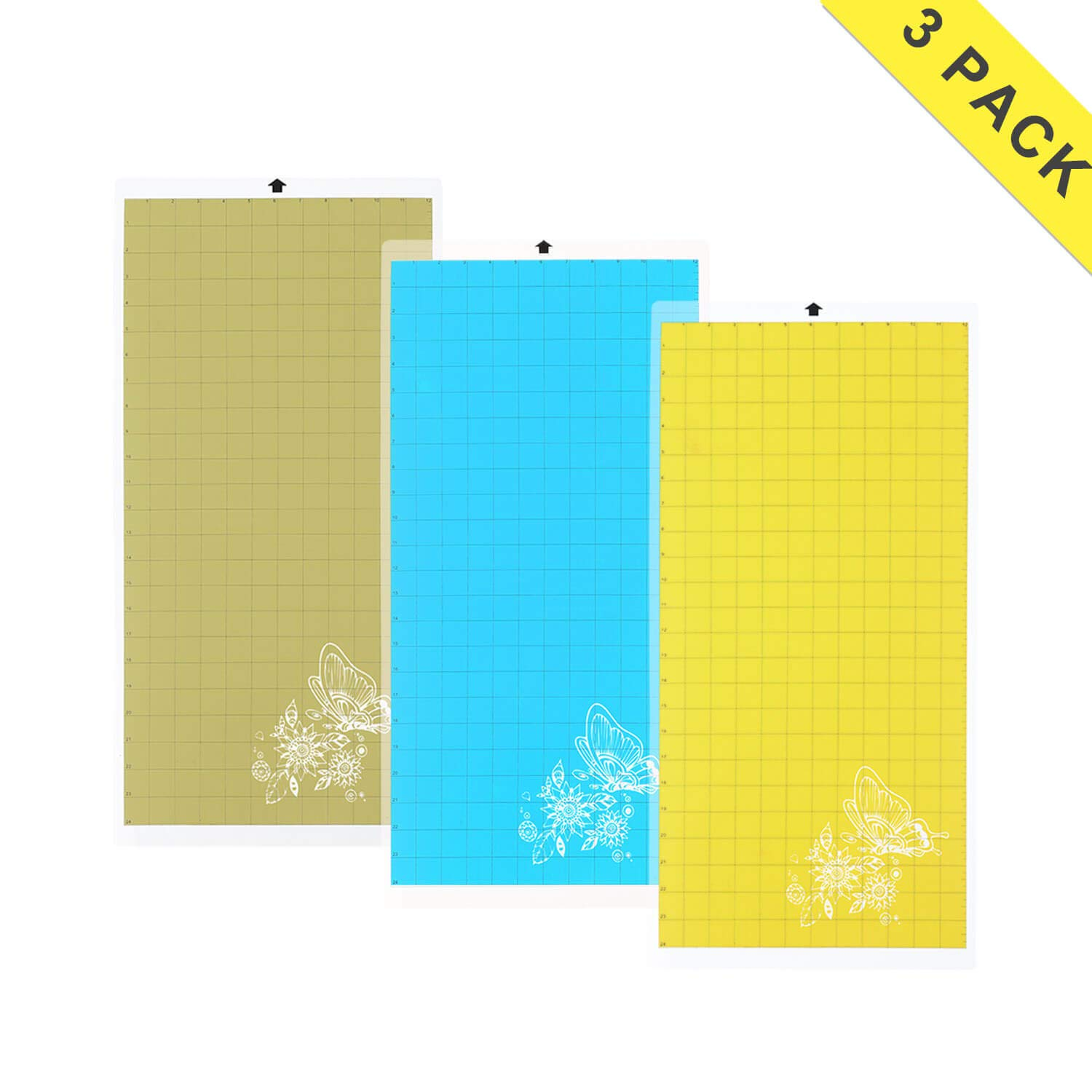 Cameo Cutting Mat Variety 3 Packs 12'' x 24'' - Strong, Standard, Light Grip Adhesive Cutting Mat Suit for Cricut, Silhouette ...