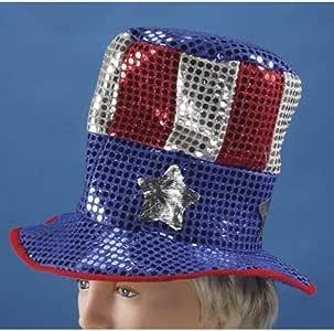 Sombrero bandera americana con purpurina: Amazon.es: Hogar