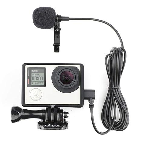 SOONSUN Rahmengehäuse mit Lavalier-Mikrofon für GoPro Hero3, Hero 3+, Hero 4 Black White und Silver Edition Kameras