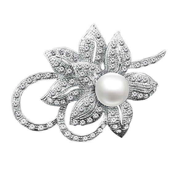 Broche flor creado con brillante de cristal y perlas para boda,navidad, o fiesta de graduación.