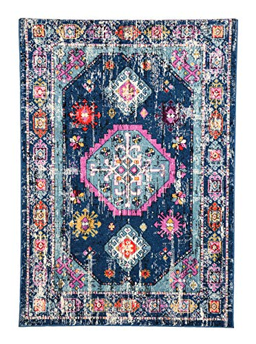 Golden Rugs Persian Area Rug 8x10 Faded Bohemian Vintage Multi Color Distressed Abstract Rug Traditional Medallion Texture for Indoor Bedroom Living Dining Room 6565 Symphony Collection (8x10, Blue) (Symphony Rug Collection)