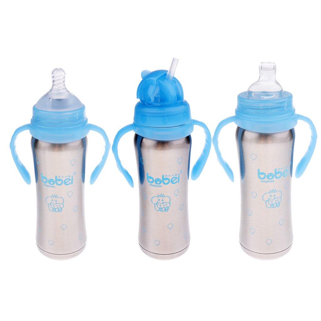 MagiDeal 240ml Isolierte Babyflasche Edelstahl Trinkflasche mit Schnuller - Blau