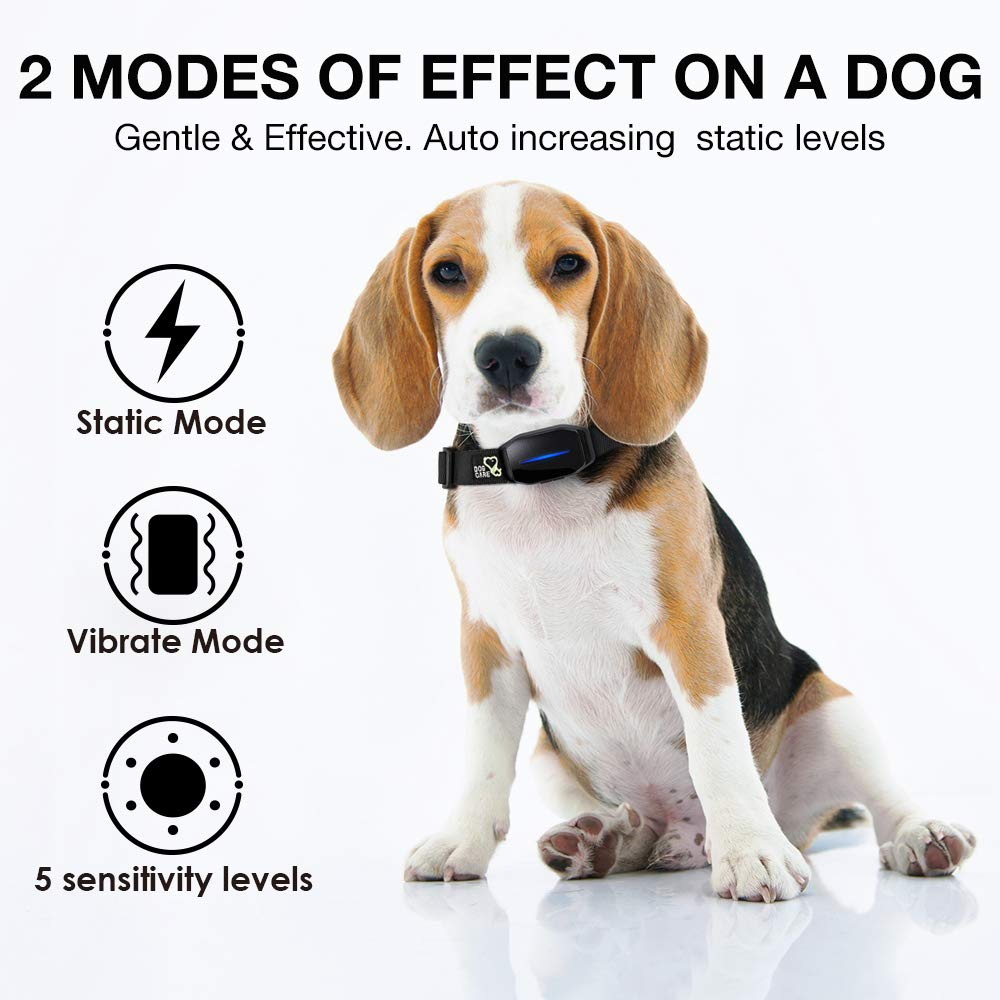 DOG CARE Bark Collar - Effective Bark Collar for Dogs Sound Vibration & Automatic 7 Levels Shock Modes Training Collar w/LED Indicator Easy to Use Dog Shock Collars