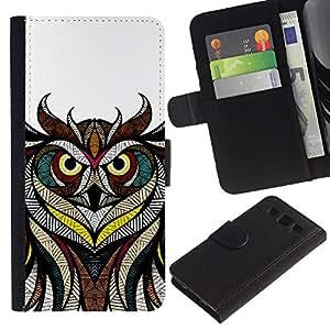 iBinBang / Flip Funda de Cuero Case Cover - Patrón Maestro Dibujo blanco Pluma Blanca - Samsung Galaxy S3 III I9300