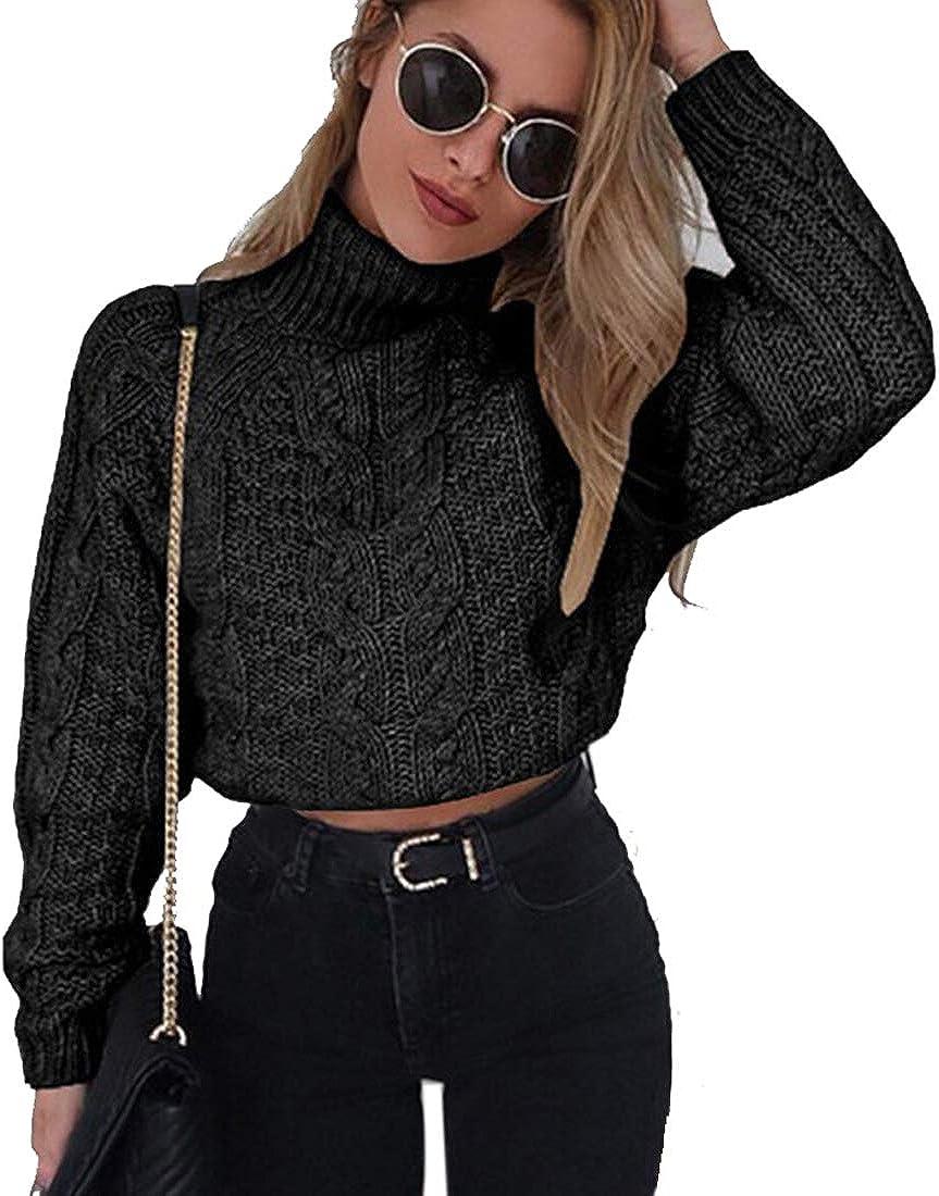 Women Turtleneck Hollow Sweater Jumper Knit Pullover Long Puff Sleeve Crop Tops