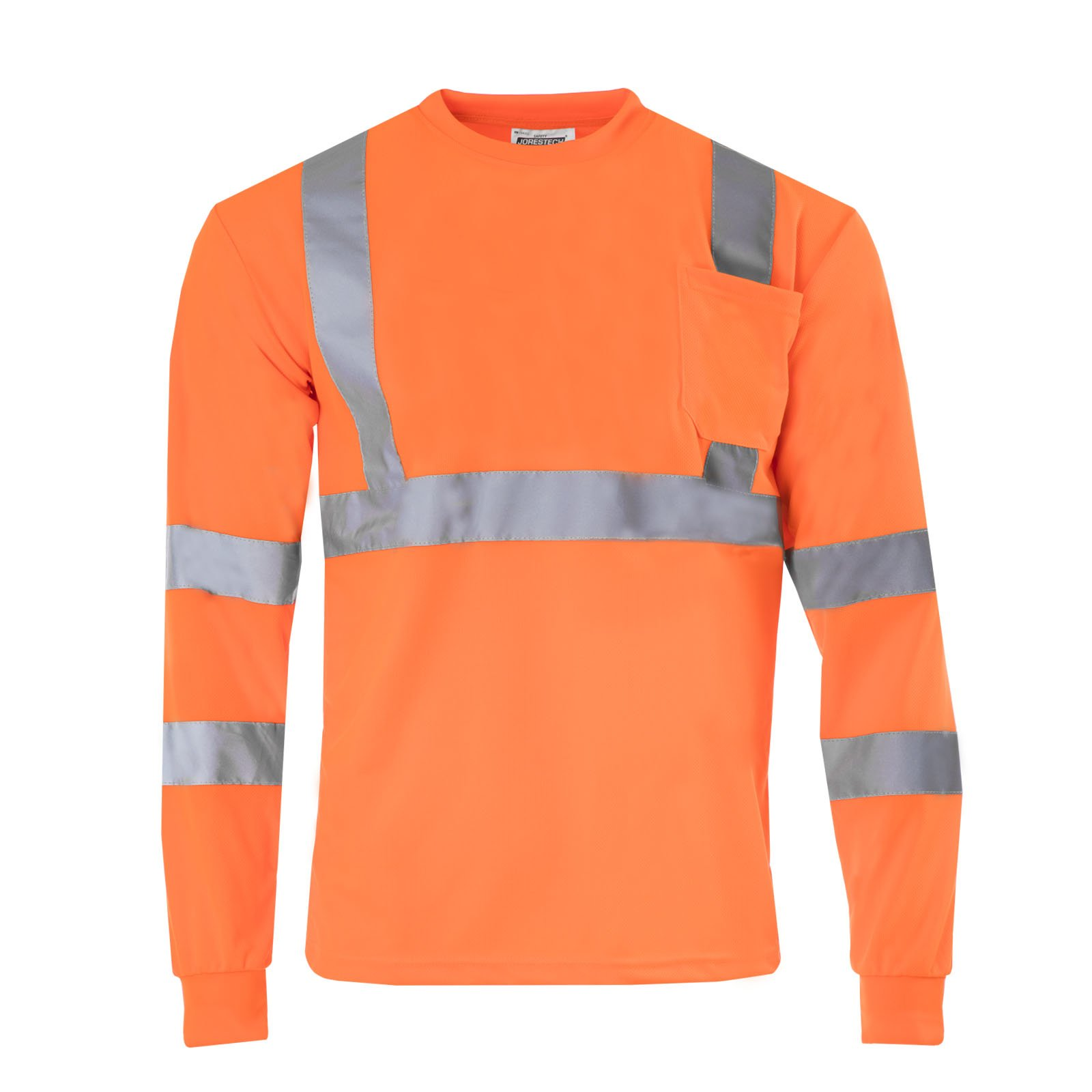 JORESTECH Safety T Shirt Reflective High Visibility Long Sleeve Orange ANSI Class 3 Level 2 Type R TS-08 (L)
