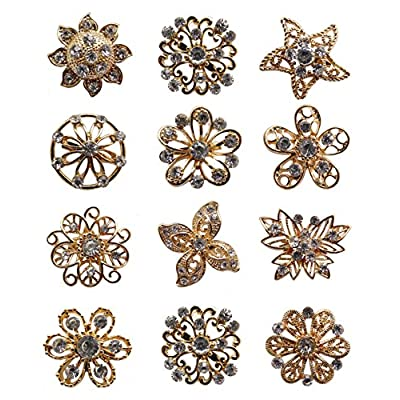 Cheap L'vow Gold Crystals Brooch Collar Pin Bouquet Kit Pack of 12 for cheap
