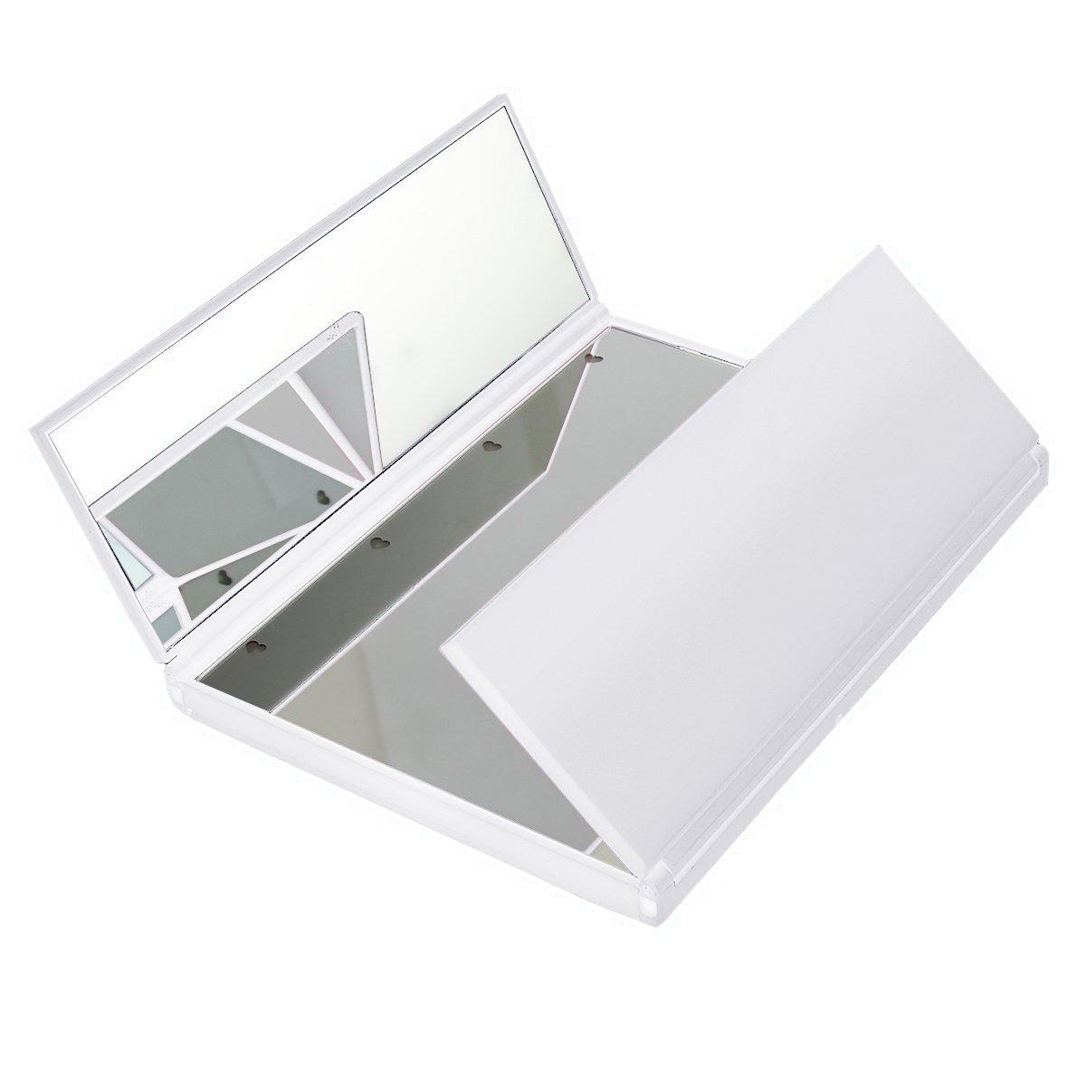 HOMPO Foldable 8 LED Light Illuminated Make Up Cosmetic Tabletop Beauty Compact Pocket Travel Vanity Mirror (Black)