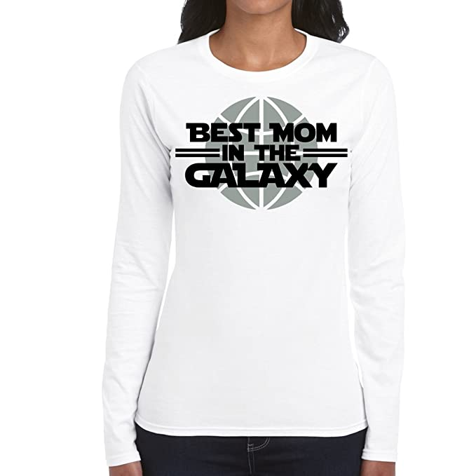 Amazon.com: AW Fashions Best Mom in The Galaxy - Birthday Present Womens Long Sleeve Tee: Clothing