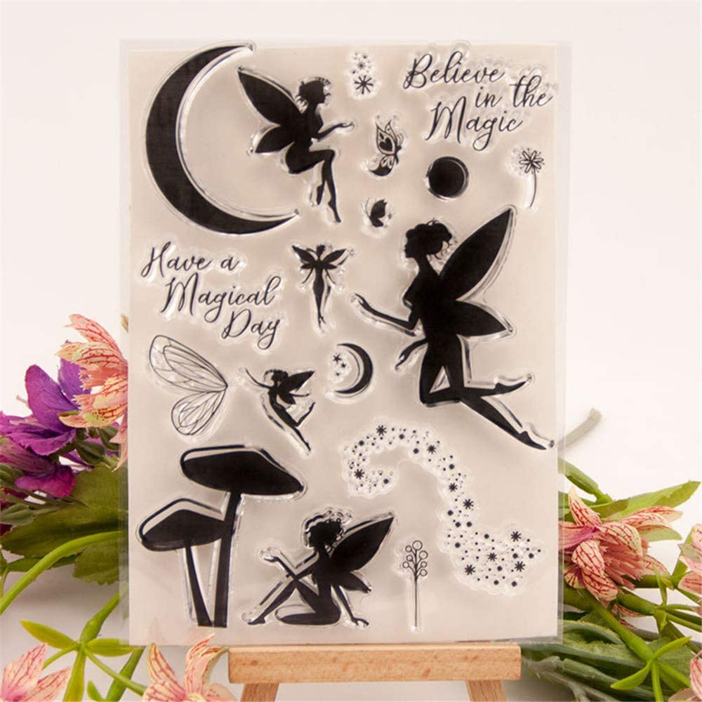 Have a Magical Day Magic Fairy Moon Sparkle Clear Stamps for Cards Making Decoration and Scrapbooking Rubber Stamps for Craft