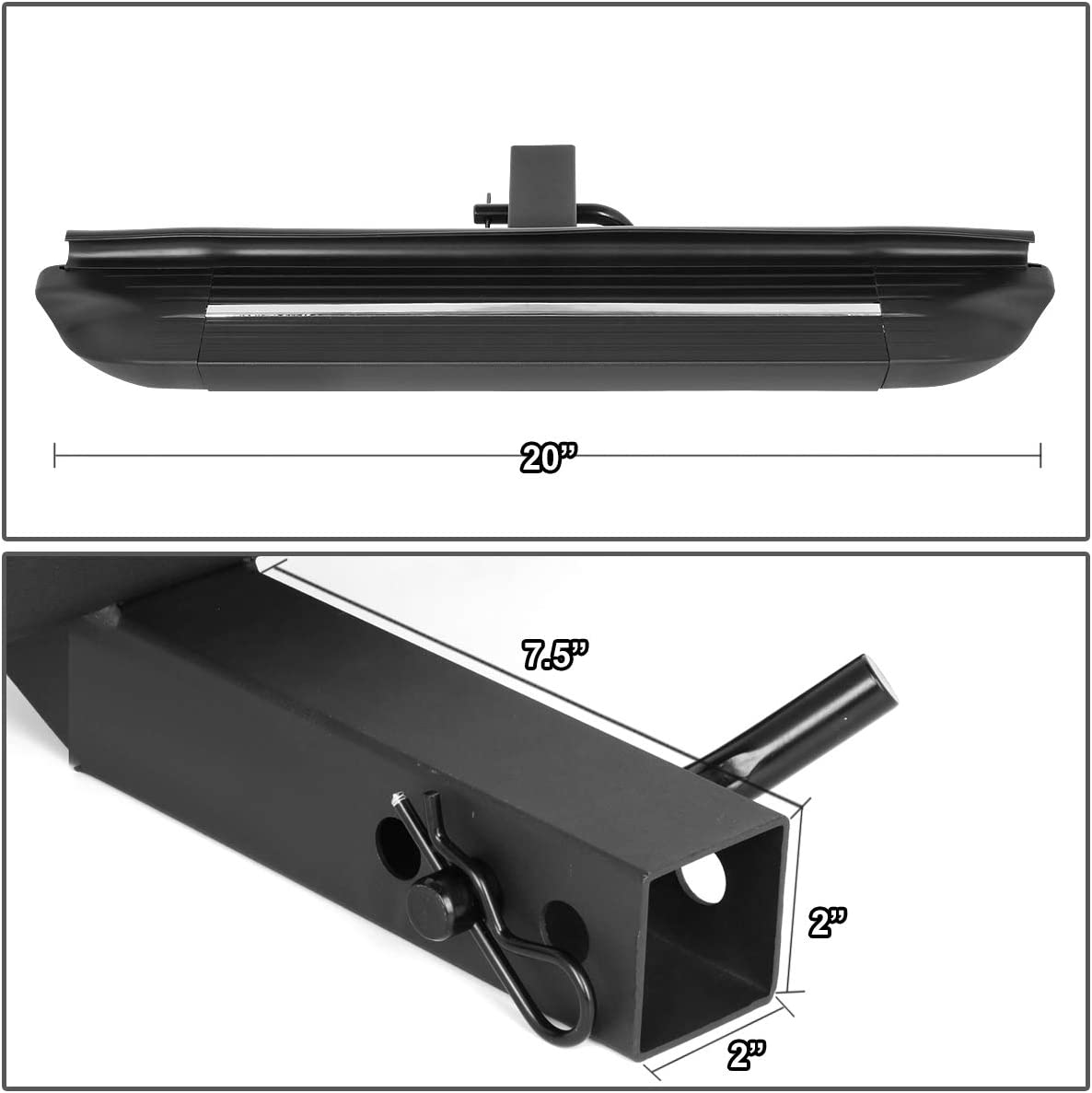 DNA MOTORING PT-ZTL-8079-BK 2 Inches Receiver 26.75 x 4 Inches Square Tow Hitch Step Bar fit Fits Vehicles with 2 Trailer Hitch