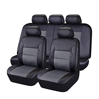 CAR PASS 11 Pieces Leather Universal Car Seat Covers Set - Black and Gray: Automotive