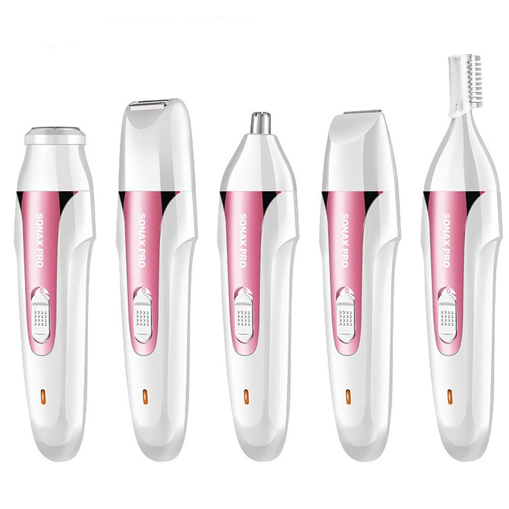 YANWIN Women Hair Removal Kit, 5 in 1 USB Electric Waterproof Lady Shaver Body Hair Groomer Trimmer For Face/Legs/Eyebrow/Nose/Bikini Female Epilator Wet and Dry - Pink