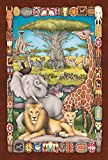 Toland Home Garden Savannah Social 28 x 40 Inch Decorative Colorful Africa Safari Animal Lion Elephant House Flag