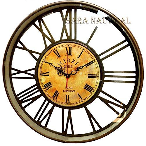 20'' Nautical Brass Anique Clock Victoria Station Clock 1747 London Collectibles -