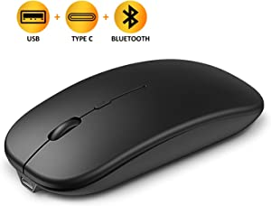 Bcway USB C Wireless Mouse, [Bluetooth+USB Receiver+Type C Adapter] 2.4G Rechargeable Silent Computer Mouse, 4 Adjustable DPI Levels Cordless Mice, Compatible with Laptop, Computer, MacBook, hp, iPad