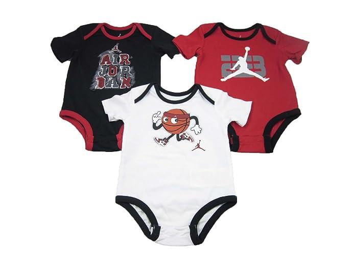 3 Pack Nike Air Jordan Infant Bodysuits Black Red White (3-6 Months)
