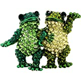 Multi Green Couple Frog Crystal Pin Brooch