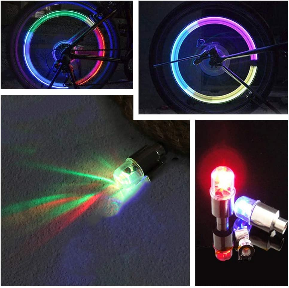 FICBOX 12 PCS LED Wheel Lights Flash Light Tire Valve Cap Lamp for Car Trucks Motorcycle Bike