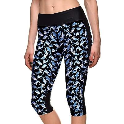2019 Hombres De Las Mujeres Adecuadas Dchen Mujeres Primavera Primavera Modernas Casual Verano Patrón De Tiburones Impresión Digital Pantalones Pitillo Yoga Leggings Deportivos: Ropa y accesorios
