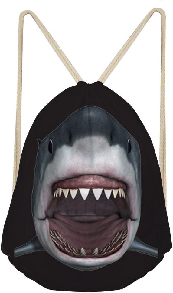 Showudesigns Cool Shark Drawstring Backbag for Kids Adult Outdoor Travel Bag Black