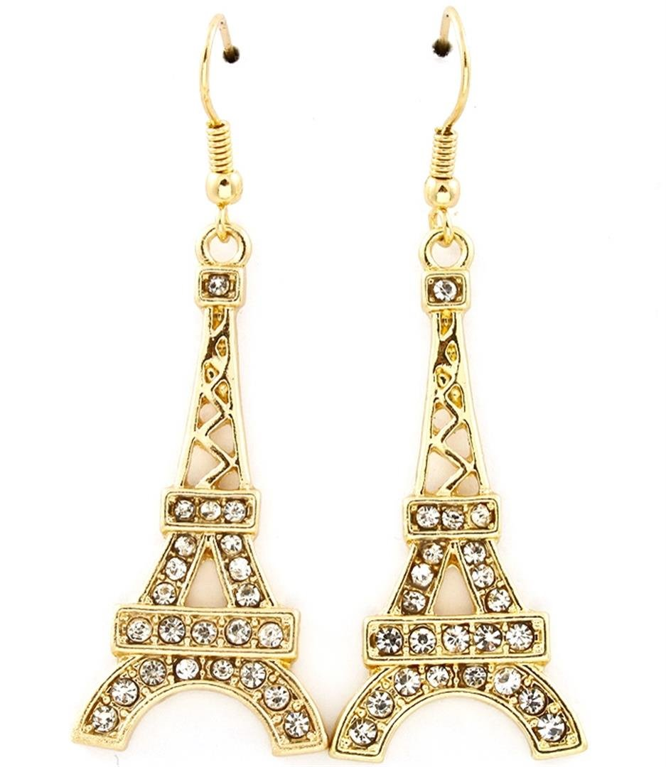 Eiffel Tower Earrings C22 Crystals Gold Tone 1.50 inches Long Paris Travel
