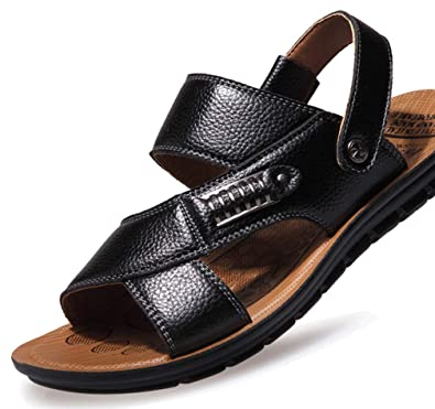 e459a1d14 Femaroly Men s Summer Beach Shoes Leather Sandals Breathable Open Toe  Slippers 628Black 5UK
