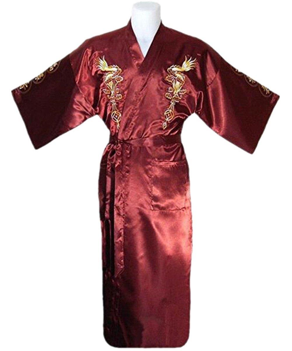 Bon amixyl Men's Dressing Gown Bathrobe Satin Silk Bath Robe Kimono Gown Dragon Embroidery Yukata Hakma Vintage