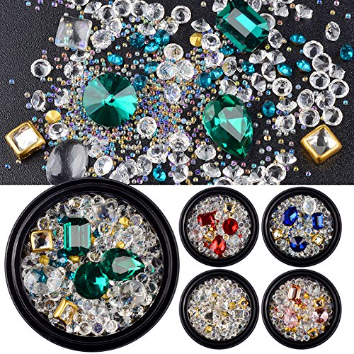 5 Boxes Mixed Colorful Glass Rhinestone Micro Crystal Beads Sharp Bottom 3D Nail Decoration Manicure