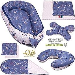 Conjunto azul para bebé cojines. cuna, manta