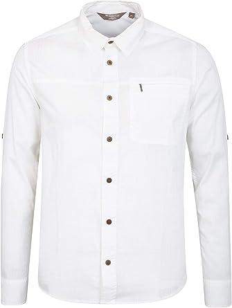 Mountain Warehouse Coconut Camisa Envuelta Larga de Mens - 100% algodón, Bolsillo del Cierre relámpago, botón Ligero Encima de la Camisa, Camisa del Verano Blanco 4XL: Amazon.es: Ropa y accesorios