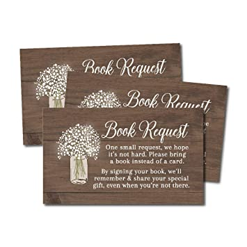 Amazon 25 Rustic Books For Baby Request Insert Card