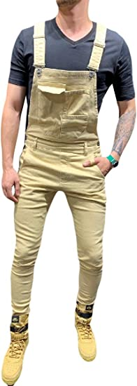 Romancly メンズビブオーバーカモプリントロングパンツスリムジャンプスーツジーンズパンツ