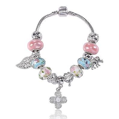 nouveau style 7d60a ec9c1 Kesi shop Charm Bracelet Pandora Glass Beads Snake Bangles Elephants  Flowers Leaf for Teens Girls Women Gifts …