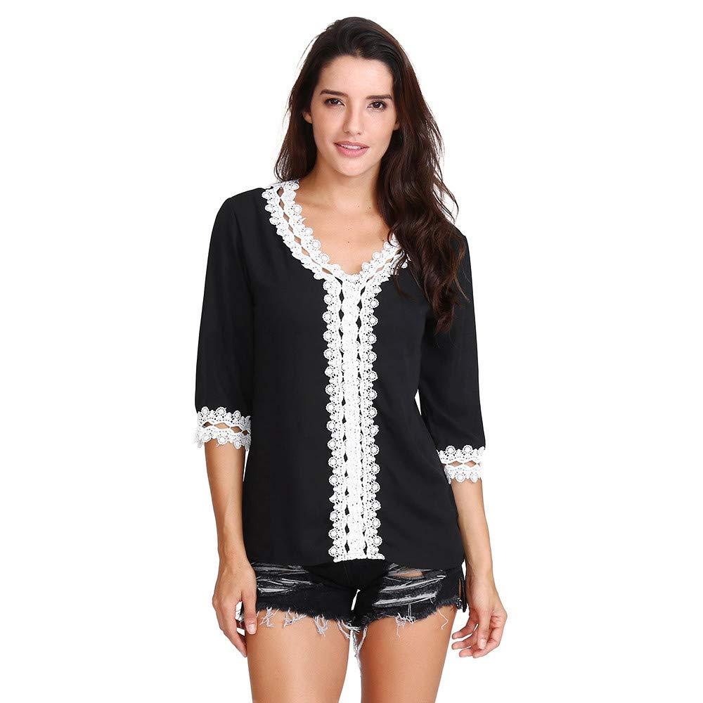 Women Chiffon 3/4 Sleeve Tops Daoroka Ladies Sexy V-Neck Lace Patchwork Solid Casual Loose Pullover Blouse Fashion Cute Autumn Winter Comfort Soft Tunic T Shirt