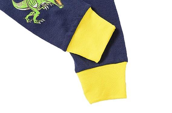 [backbuy] Kids Niños Ropa Niños Ropa De Algodón De Manga Larga Camiseta Tops + Pantalones Conjuntos de ropa 7442 dinosaurio Tyrannosaurus azul azul ...