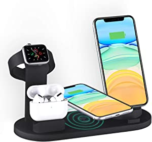 4 in 1 Wireless Charger for iPhone 11/11 pro /11 Pro Max/Xs/XS Max/XR/X / 8 /8P/Samsung Galaxy S9 S8, Fast Charger for AirPod/AirPod 2/ AirPods Pro, Watch Charging Stand for iWatch 1/2/3/4 /5 (Black)