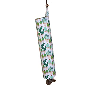 Plastic Bag Holder | Grocery Shopping Bag Organizer | Carrier | Dispenser. Handmade in the USA (Cactus-Flannel)
