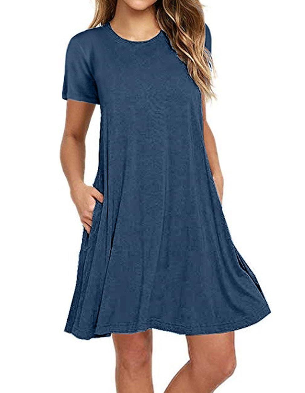 Shfz Womens Long Sleeve Casual T Shirt Dress With Pocket Loose Flowy