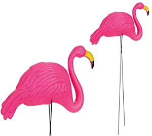 4E's Novelty Pack of 2 34 Inches Flamingo Yard Lawn Ornaments, Large Bright Pink Flamingos Outdoor Decor