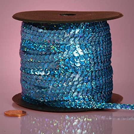 Sapphire Blue PEPPERLONELY Brand 80 Yard//Roll Holographic Faceted Sequin Trim