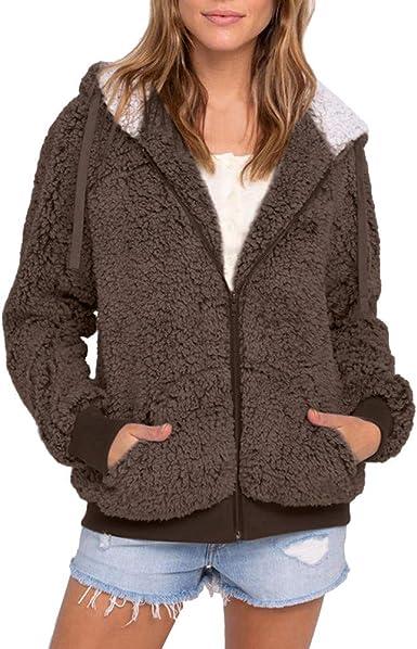 Femme Slim Polaire à Capuche Full Zip Jacket Sweatshirts