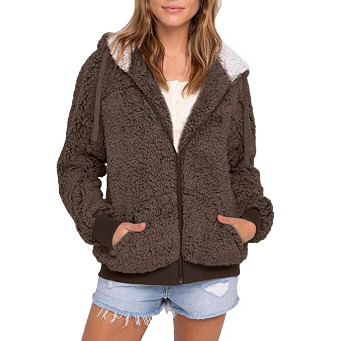 Amazon.com: IanWio Women Plus Size Casual Pocket Hooded ...
